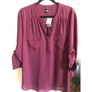 Torrid plus size 2 burgundy long sleeve blouse 🆕